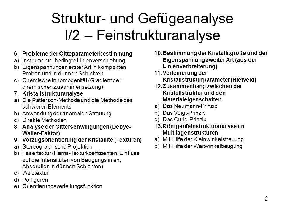 Struktur- und Gefügeanalyse I/2 – Feinstrukturanalyse