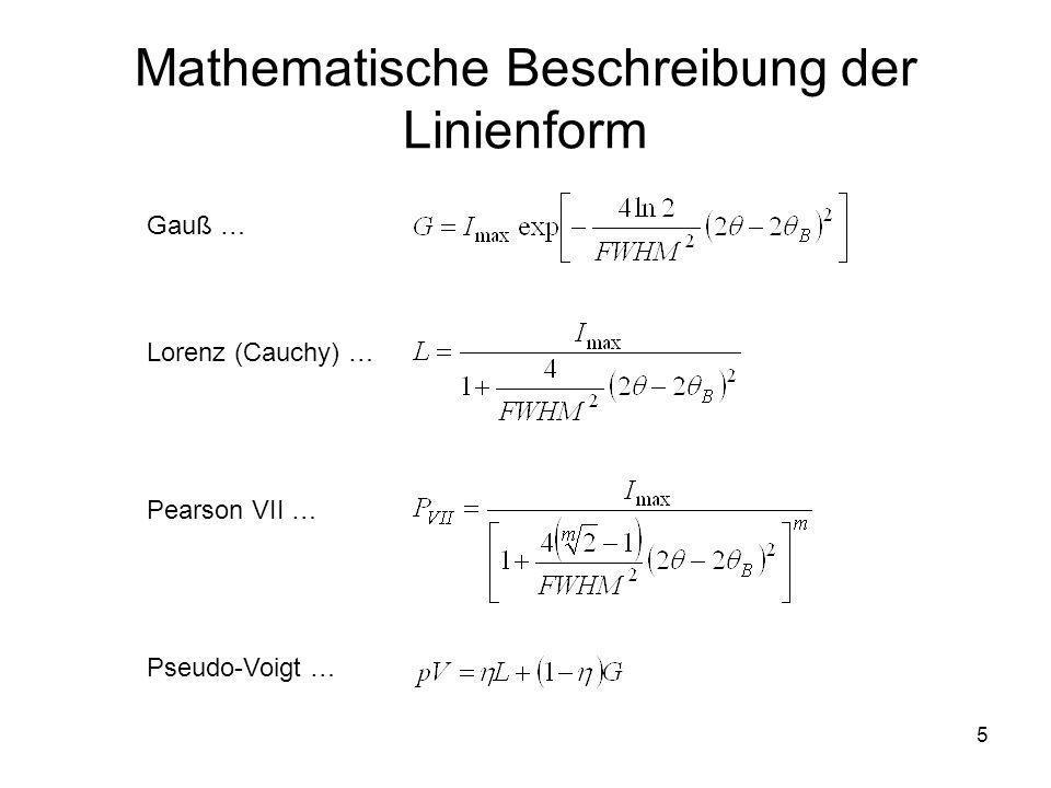 Mathematische Beschreibung der Linienform
