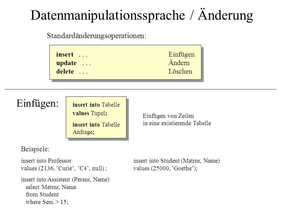 Datenmanipulationssprache / Änderung