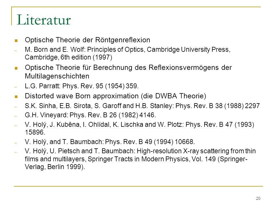Literatur Optische Theorie der Röntgenreflexion