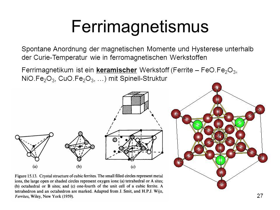 Ferrimagnetismus Spontane Anordnung der magnetischen Momente und Hysterese unterhalb der Curie-Temperatur wie in ferromagnetischen Werkstoffen.