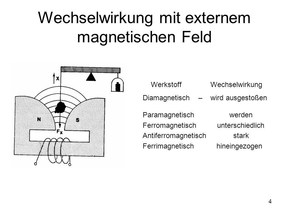 Wechselwirkung mit externem magnetischen Feld