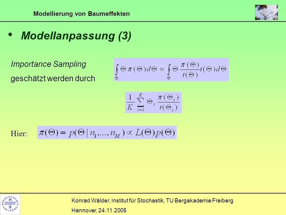 Modellanpassung (3) Importance Sampling kann geschätzt werden durch