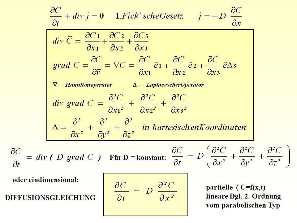 Für D = konstant:oder eindimensional: DIFFUSIONSGLEICHUNG. partielle ( C=f(x,t) lineare Dgl. 2. Ordnung.