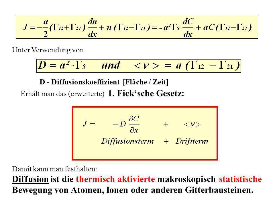 Diffusion ist die thermisch aktivierte makroskopisch statistische