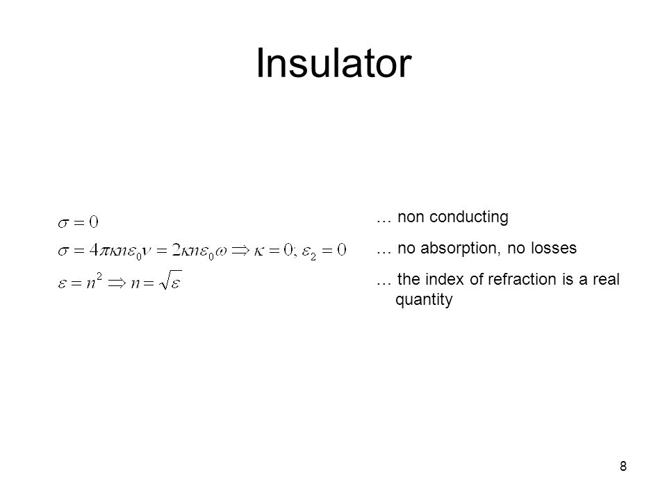 Insulator … non conducting … no absorption, no losses