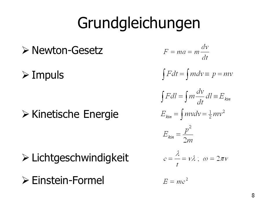 Grundgleichungen Newton-Gesetz Impuls Kinetische Energie
