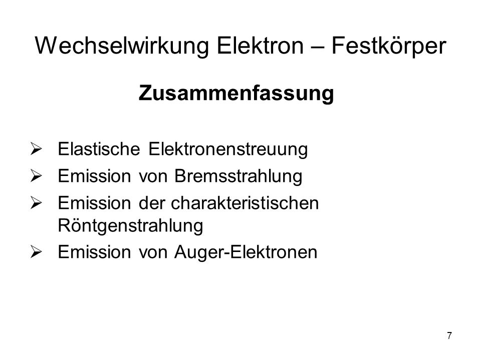 Wechselwirkung Elektron – Festkörper