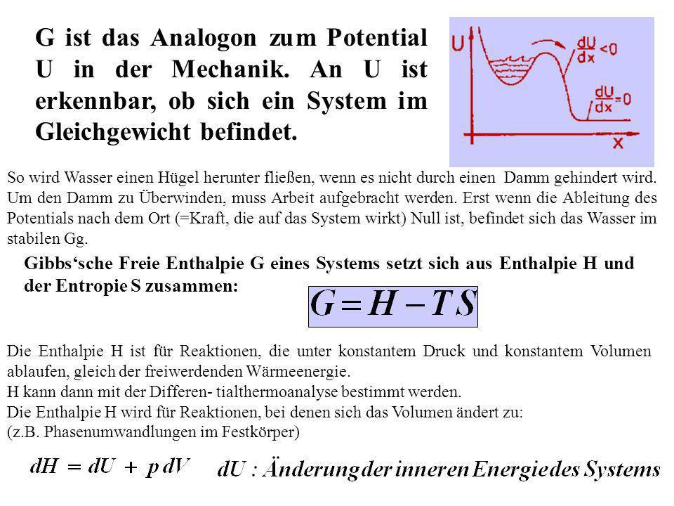 G ist das Analogon zum Potential U in der Mechanik