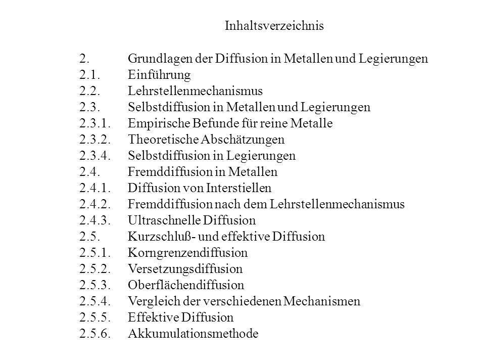 Inhaltsverzeichnis 2. Grundlagen der Diffusion in Metallen und Legierungen. 2.1. Einführung. 2.2. Lehrstellenmechanismus.