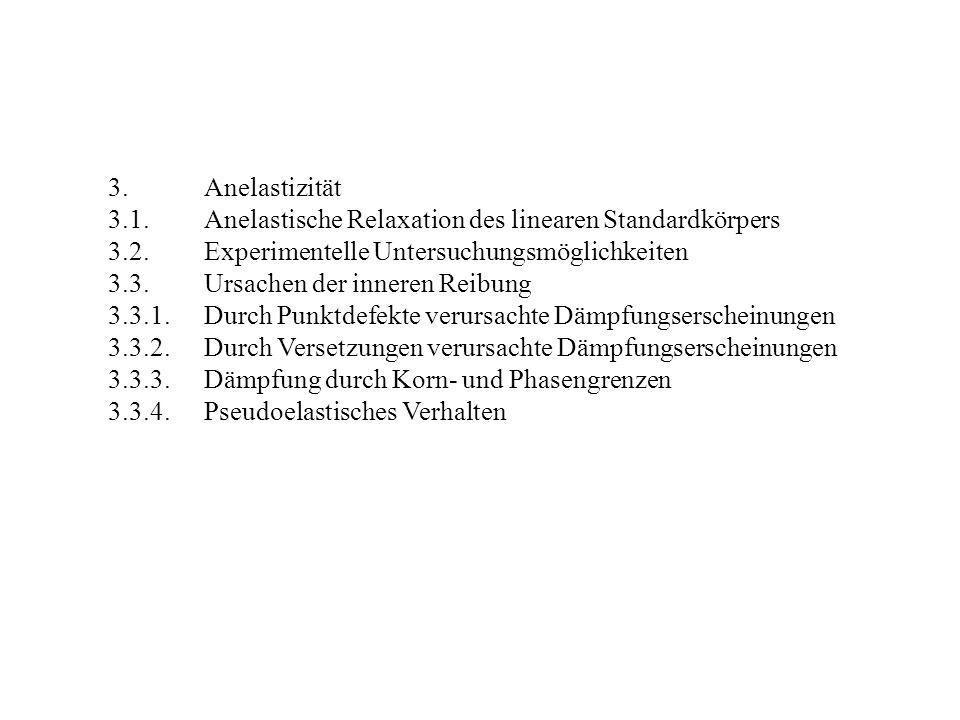 3. Anelastizität 3.1. Anelastische Relaxation des linearen Standardkörpers. 3.2. Experimentelle Untersuchungsmöglichkeiten.