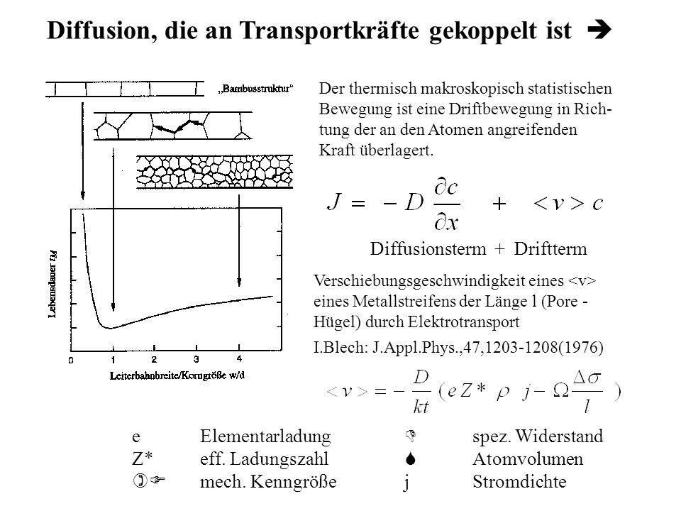 Diffusion, die an Transportkräfte gekoppelt ist 