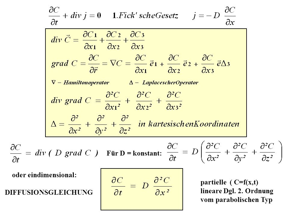 Für D = konstant: oder eindimensional: DIFFUSIONSGLEICHUNG. partielle ( C=f(x,t) lineare Dgl. 2. Ordnung.