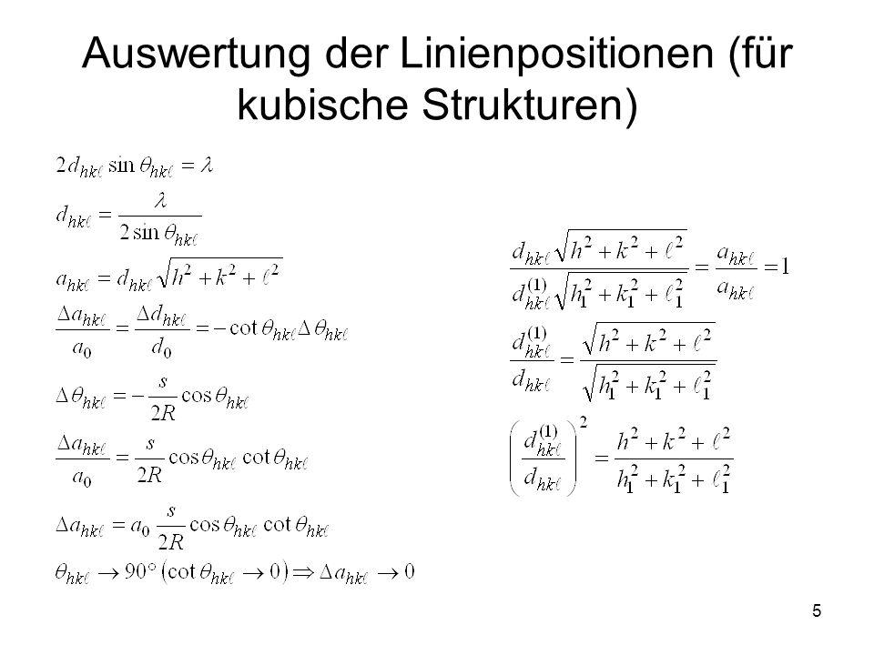 Auswertung der Linienpositionen (für kubische Strukturen)