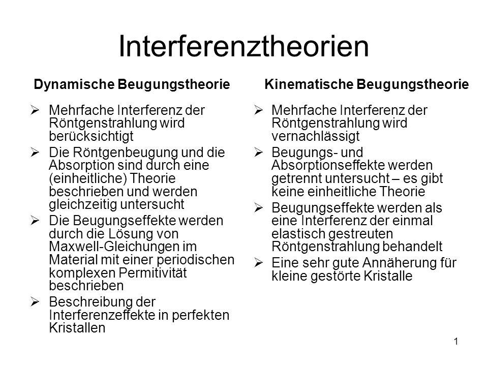 Interferenztheorien Dynamische Beugungstheorie