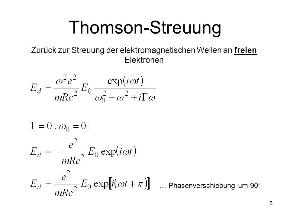 Thomson-Streuung Zurück zur Streuung der elektromagnetischen Wellen an freien Elektronen.