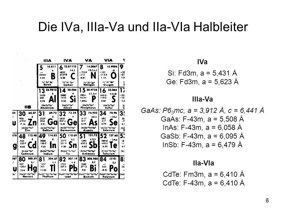 Die IVa, IIIa-Va und IIa-VIa Halbleiter