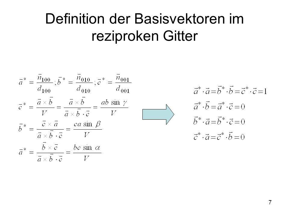Definition der Basisvektoren im reziproken Gitter