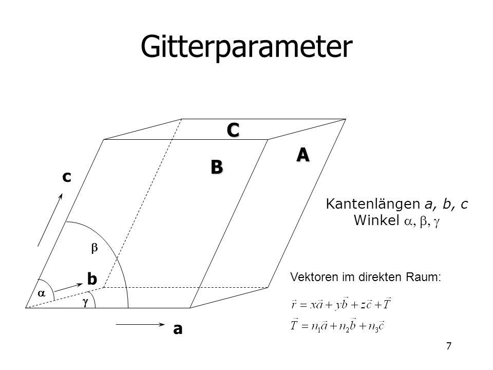 Gitterparameter C A B c b a Kantenlängen a, b, c Winkel a, b, g