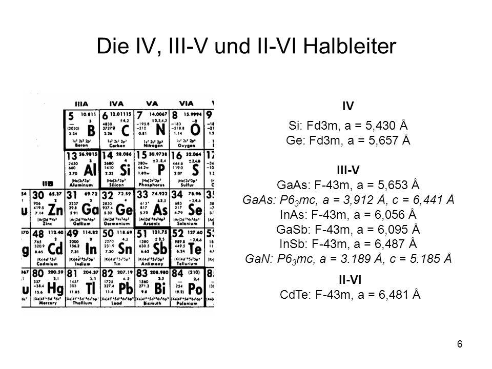 Die IV, III-V und II-VI Halbleiter