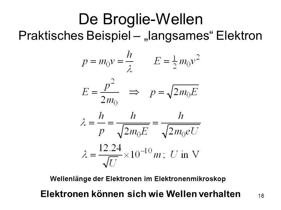 """De Broglie-Wellen Praktisches Beispiel – """"langsames Elektron"""
