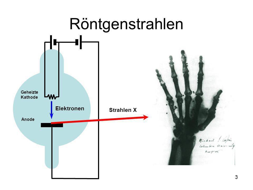Röntgenstrahlen Geheizte Kathode Elektronen Strahlen X Anode