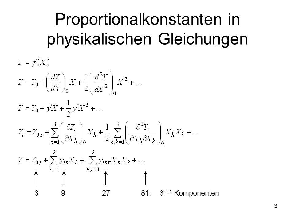 Proportionalkonstanten in physikalischen Gleichungen