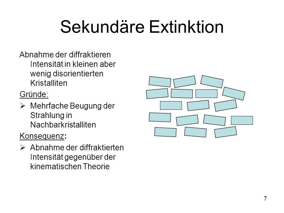Sekundäre ExtinktionAbnahme der diffraktieren Intensität in kleinen aber wenig disorientierten Kristalliten.