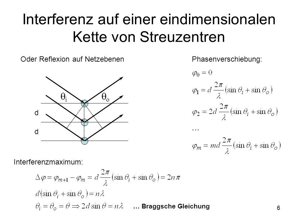 Interferenz auf einer eindimensionalen Kette von Streuzentren