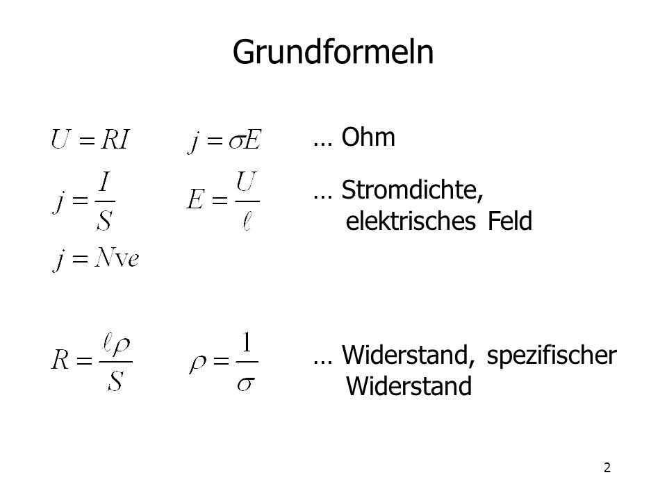 Grundformeln … Ohm … Stromdichte, elektrisches Feld