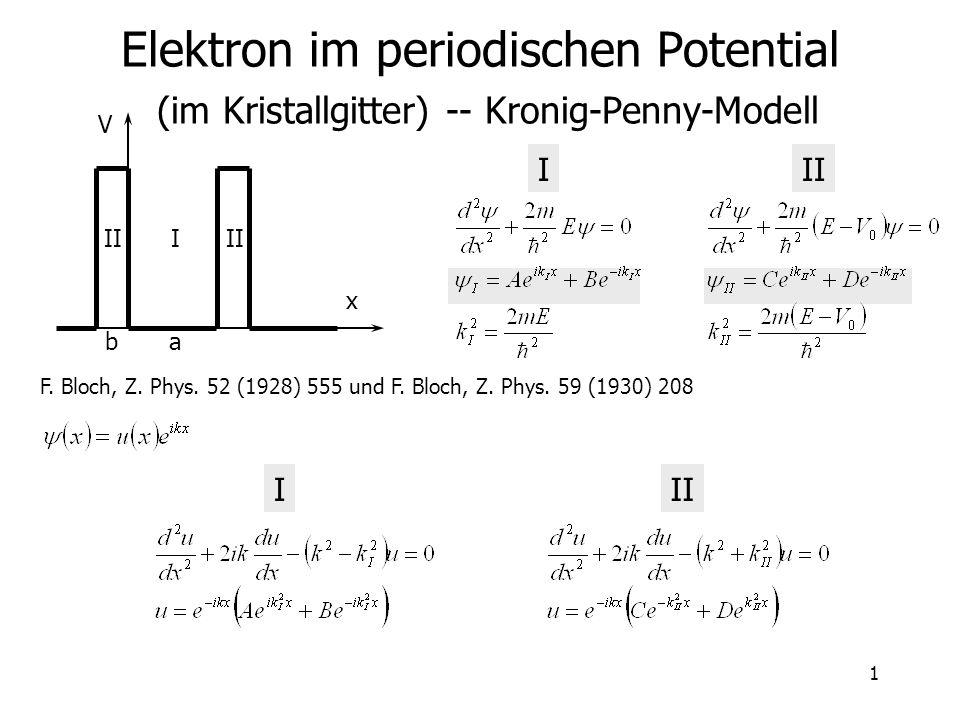 Elektron im periodischen Potential (im Kristallgitter) -- Kronig-Penny-Modell