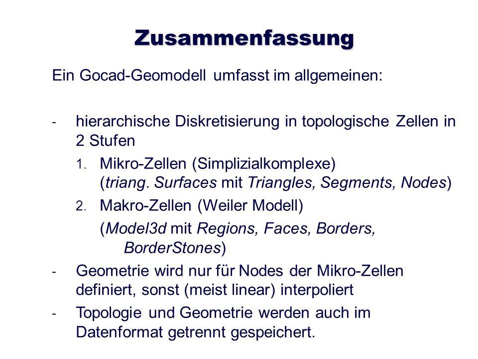 Zusammenfassung Ein Gocad-Geomodell umfasst im allgemeinen: