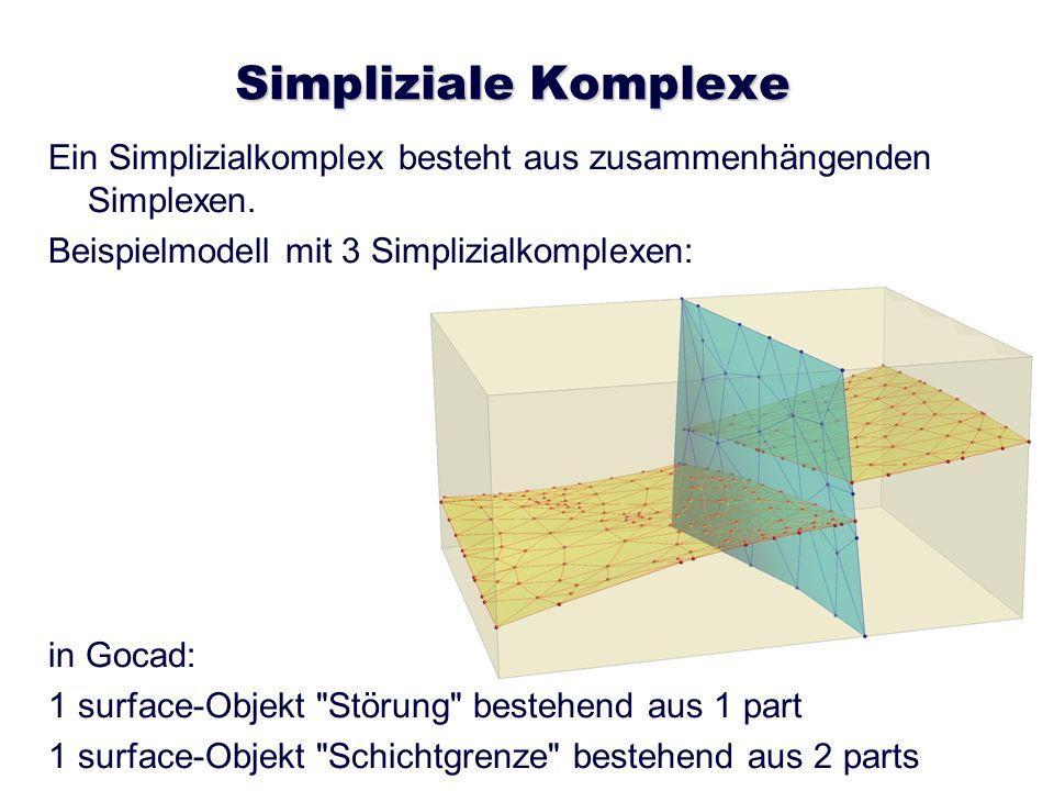 Simpliziale Komplexe Ein Simplizialkomplex besteht aus zusammenhängenden Simplexen. Beispielmodell mit 3 Simplizialkomplexen: