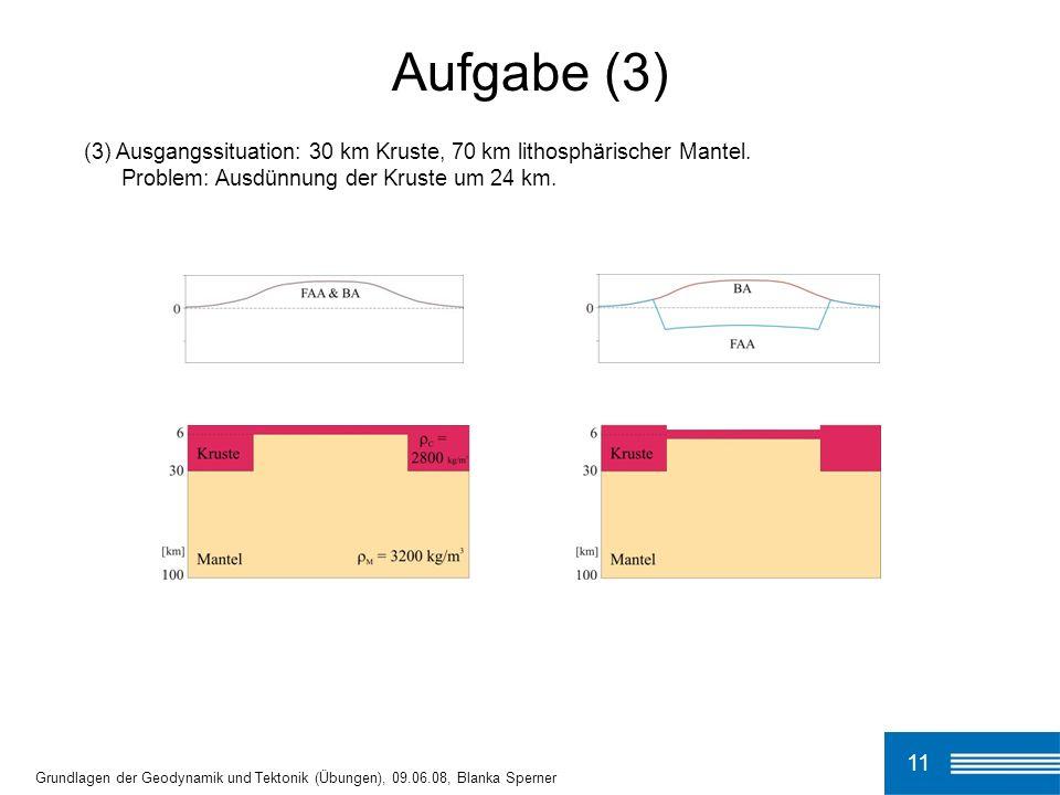 Aufgabe (3)(3) Ausgangssituation: 30 km Kruste, 70 km lithosphärischer Mantel. Problem: Ausdünnung der Kruste um 24 km.