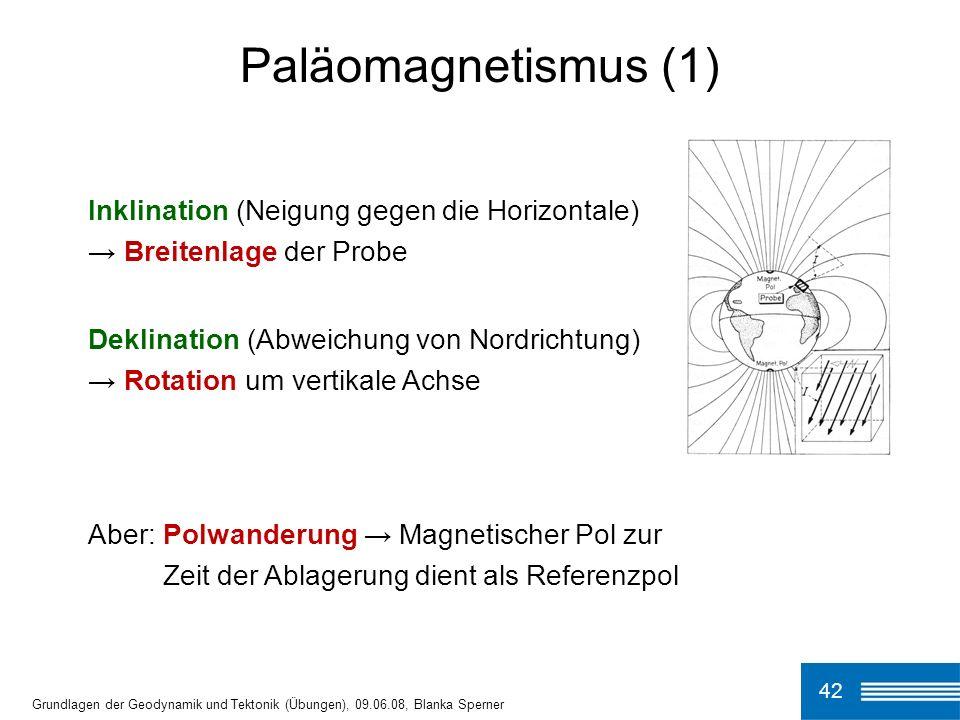 Paläomagnetismus (1) Inklination (Neigung gegen die Horizontale) → Breitenlage der Probe.
