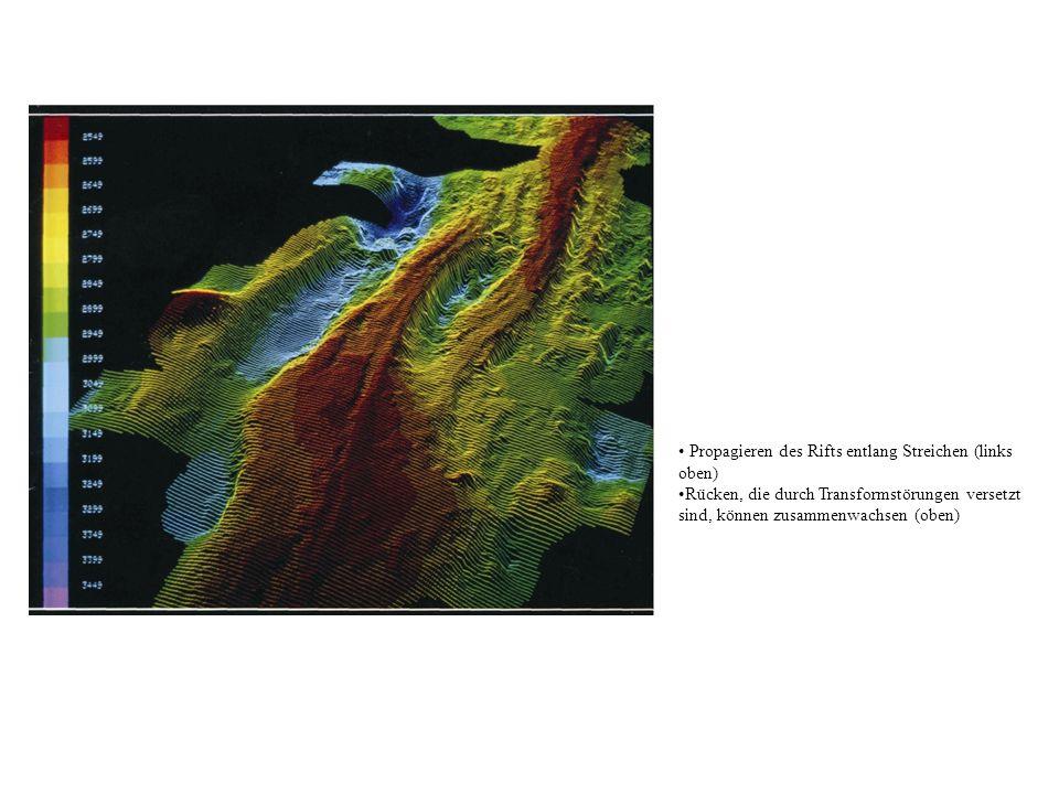 Propagieren des Rifts entlang Streichen (links oben)