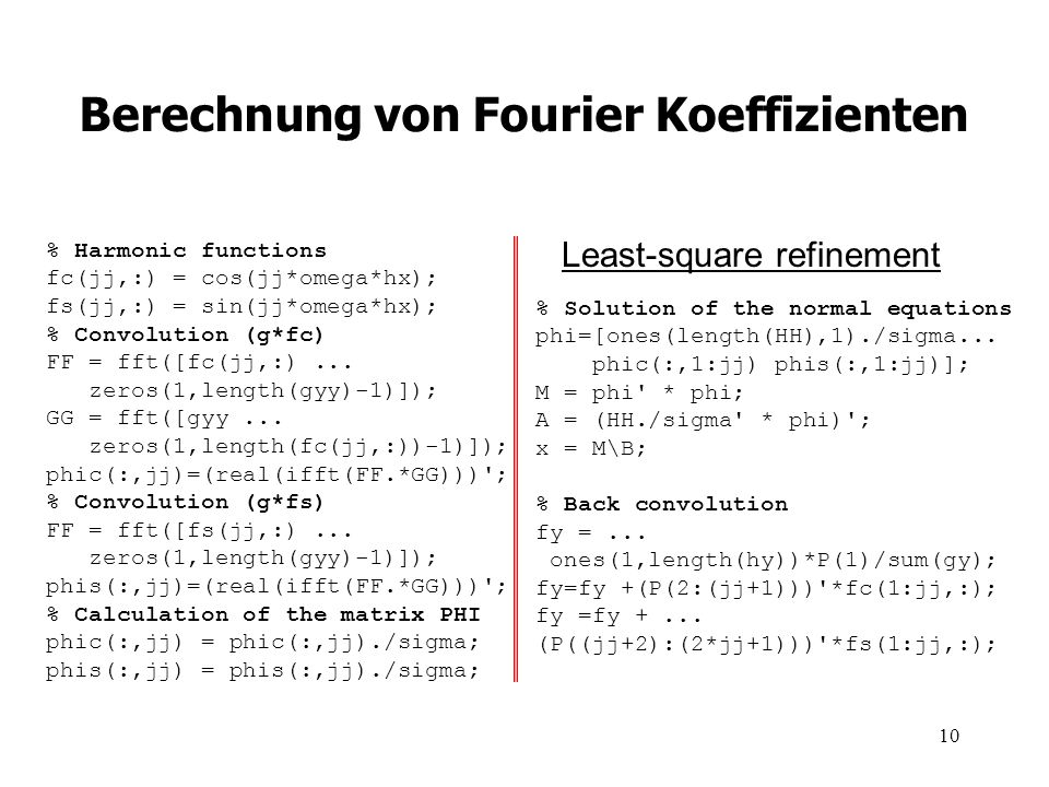 Berechnung von Fourier Koeffizienten