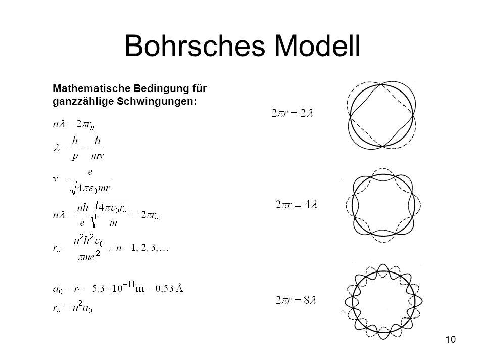 Bohrsches Modell Mathematische Bedingung für ganzzählige Schwingungen: