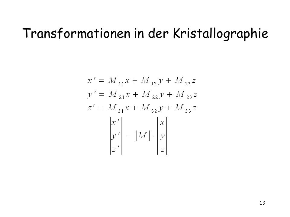 Transformationen in der Kristallographie