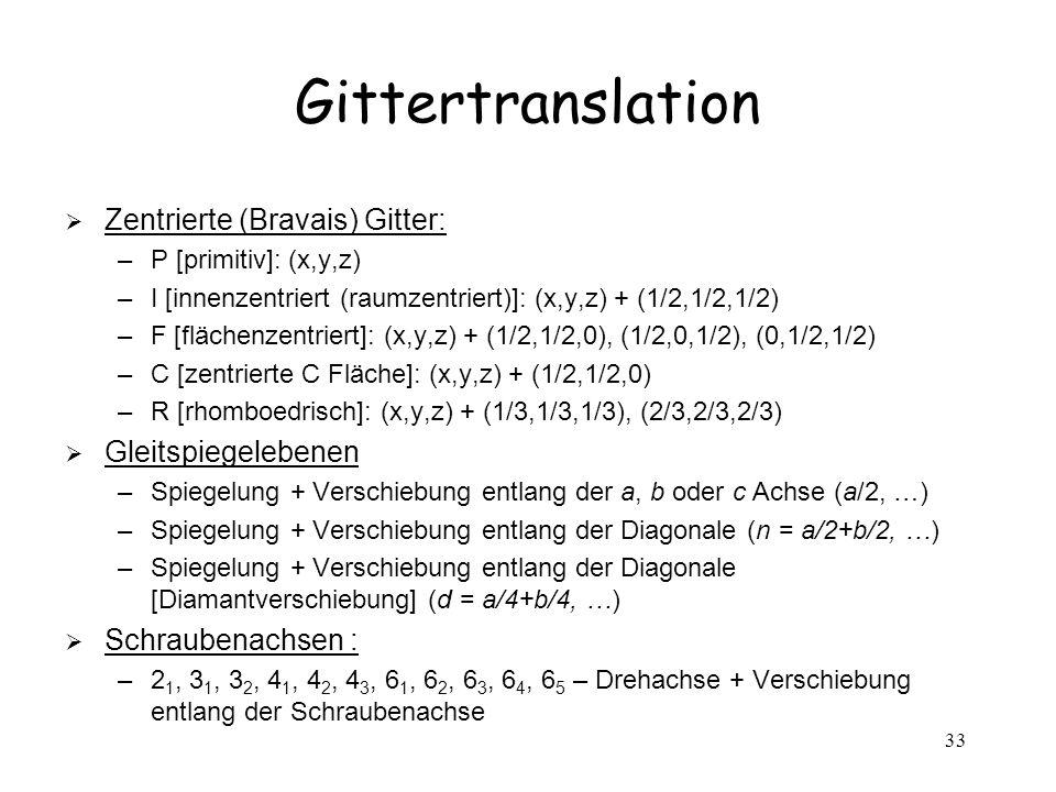 Gittertranslation Zentrierte (Bravais) Gitter: Gleitspiegelebenen
