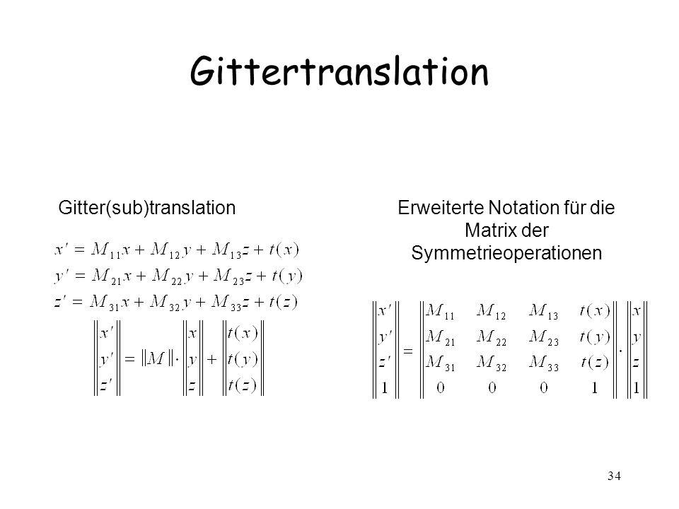 Erweiterte Notation für die Matrix der Symmetrieoperationen
