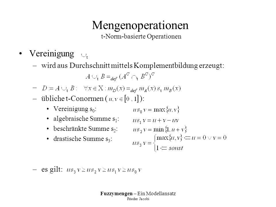 Mengenoperationen t-Norm-basierte Operationen
