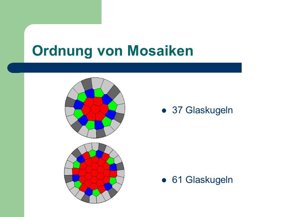 Ordnung von Mosaiken 37 Glaskugeln 61 Glaskugeln