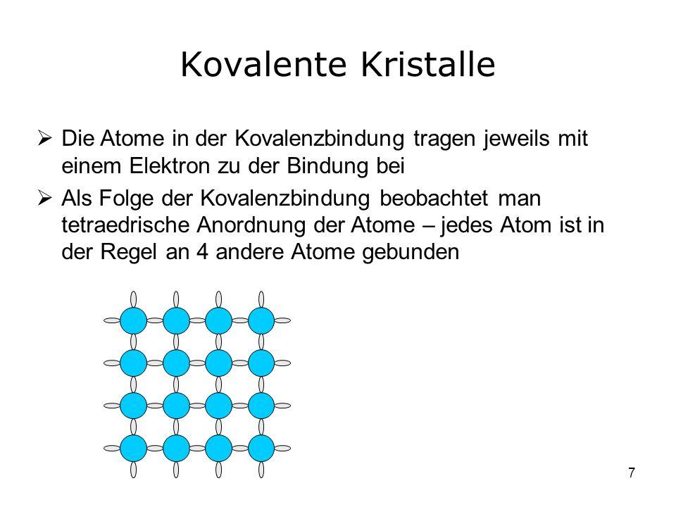 Kovalente Kristalle Die Atome in der Kovalenzbindung tragen jeweils mit einem Elektron zu der Bindung bei.