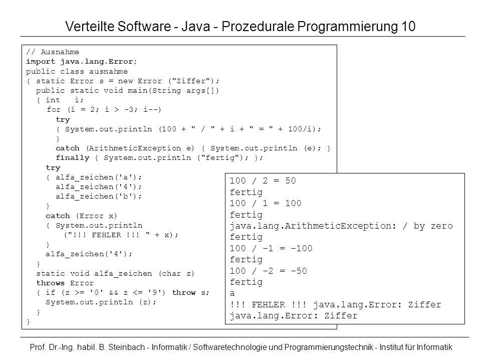 Verteilte Software - Java - Prozedurale Programmierung 10