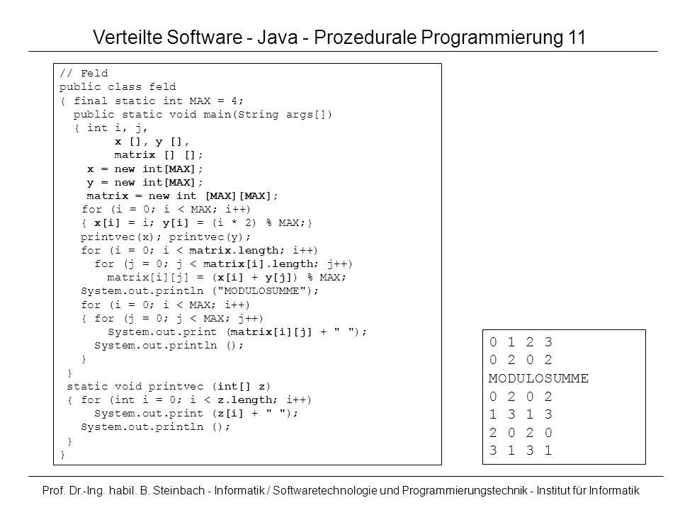 Verteilte Software - Java - Prozedurale Programmierung 11