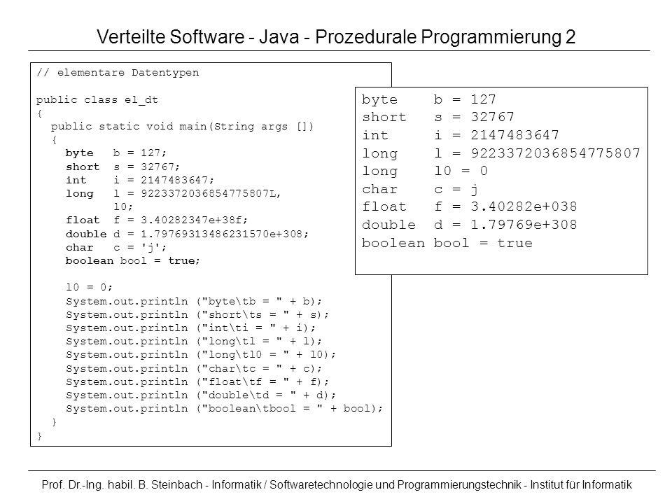 Verteilte Software - Java - Prozedurale Programmierung 2