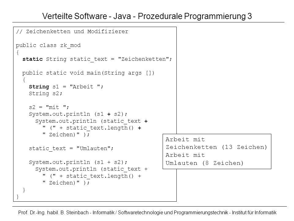 Verteilte Software - Java - Prozedurale Programmierung 3
