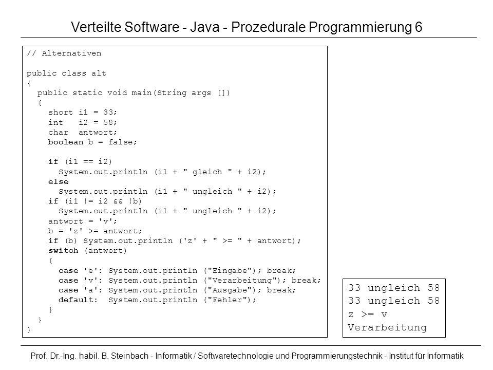 Verteilte Software - Java - Prozedurale Programmierung 6