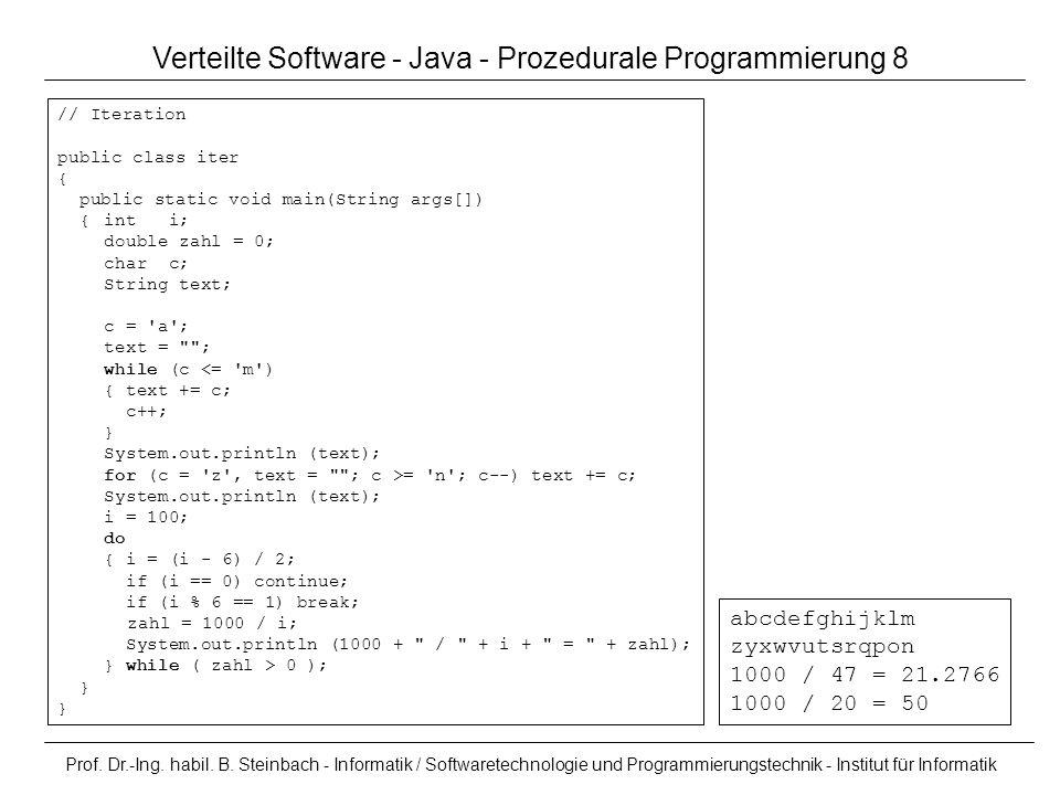 Verteilte Software - Java - Prozedurale Programmierung 8